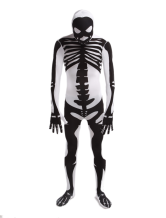 Anime Costumes AF-S2-141762 White Human Skeleton Lycra Spandex Unisex Zentai Suit Halloween cosplay costume