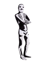 Anime Costumes AF-S2-1259 Black Lycra Unisex Zentai Suit Halloween cosplay costume with Skeleton Pattern