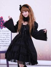 Cotone nero Lolita OP Abito maniche lunghe in pizzo
