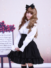 Gothic Lolita Dress SK Black High Waist Ruffles Cotton Lolita Skirt