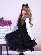 Lolitashow Cotton Black Sleeveless Gothic Lolita Dress