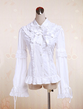 Lolitashow Pure White Cotton Lolita Blouse Long Sleeves Lace Trim Lace Bows