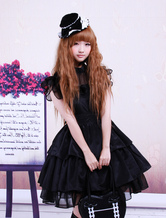 Lolitashow Rayon Yarn Black Lolita OP Dress with Ruffles Waist Belt