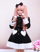 Lolitashow Black Wool Girls Lolita Overcoat