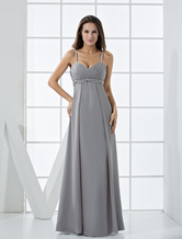 Attractive Silvery Chiffon V-neck Floor Length Maternity Evening Dress wedding guest dress