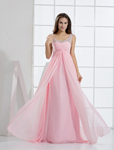 Pink Long Homecoming Dress with Illusion Embellished Straps