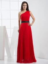 Red Pleated One-Shoulder Floor Length A-line Evening Dress wedding guest dress