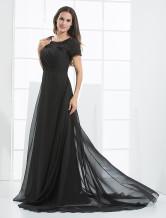 Black Floor Length Chiffon A-line Satin Evening Dress wedding guest dress