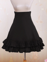 Lolitashow Black High Waist Lolita Short Skirt Lace Up Layered Ruffles