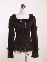 Lolitashow Black Square Collar Long Sleeves Cotton Lolita Blouse