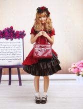 Vestido do estilo Gothic Lolita doce algodão escuros de vermelho e preto