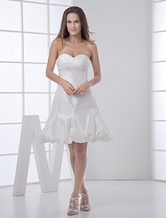 Short White Bridal Wedding Dress with Sweetheart Neck A-line Pleated