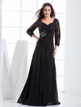 Abendkleider V-Ausschnitt Hochzeit Etui- Brautmutterkleider Chiffon Formelle Kleider 3/4 Ärmel mit Schnürung Schwarz bodenlang und hoher Taillenlinie