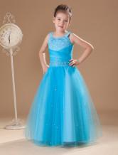 Tulle Flower Girl Dress Aqua Rhinestone Straps A Line Floor Length Toddler's Pageant Dress