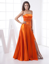 Long Prom Dresses Orange Red Strapless Formal Evening Dress Satin Sexy High Split Prom Gown