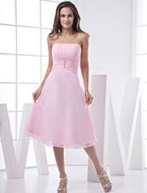 Rose belle a-ligne bretelles en mousseline de soie Satin Prom robe/Homecoming Dress Robes pour les invités de mariage