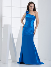 Royal Blue One-Shoulder Flower Mermaid Bridesmaid Dress
