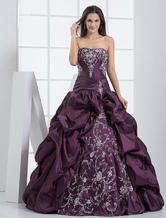 Vestidos de fiesta de Prom de tafetán de color de uva con escote de corazón con bordado