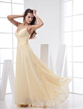 V-образный вырез спагетти летом Пром платье