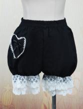 Lolitashow Cute Black Cotton Lolita Bloomers Heart Shape Pocket Lace Trim Bow Ribbon
