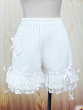 Lolita Bloomers White Cotton Lace Trim Heart Shape Pocket Bow Ribbon