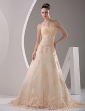 Sweetheart Satin Lace Applique Wedding Dress
