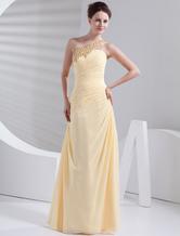 Gorgeous Daffodil Chiffon One Shoulder Prom Dress