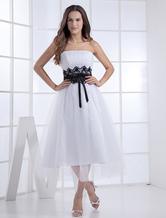 Vestido de noiva Sem alças Cauda até aos gémeos Com cinto De organza