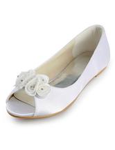 Zapatos peep toe de satén con flores