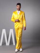 Amarelo único Breasted botão lapela penteados noivo smoking casamento
