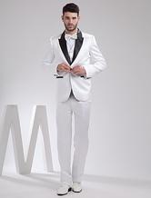 Cool White Satin Groom Wedding Tuxedo