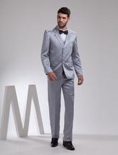 Мода Серый Одноместный Брестед нагрудные кнопки камвольно Грум Tuxedo Свадьба
