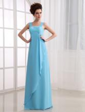 Fabulous Empire Waist Floor Length Satin Chiffon Bridesmaid Dress