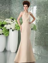 Золотой пола атласная платье невесты