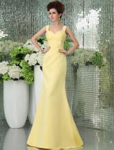 Mermaid Sweetheart Neck Pleated Daffodil Satin Bridesmaid Dress