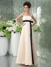 Romantic Spaghetti Sash Floor Length Satin Gold Champagne Bridesmaid Dress