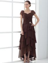 Abbigliamento per la madre della sposa cioccolato in satin multistrato asimmetrico  Abiti per Ospiti di Matrimonio