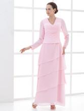 Pink Manga Longa Ruffles frisada Mãe Chiffon Cetim Vestido de noiva e do noivo