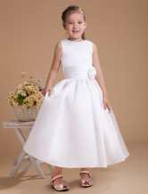Cute White Satin Flower Girl Dress