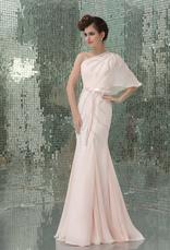 Vestidos de fiesta largos Vestido de noche de chifón de color nude con escote a un solo hombro con faja cintura natural