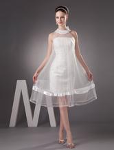 Ivory Fashion Net Round Neck Mermaid Trumpet Mini Wedding Dress