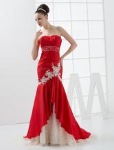 Meerjungfrau Brautkleid aus Taft mit Herz-Ausschnitt und senkrechten Falten und Schleppe in Rot