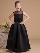 Black Satin Flower Girl Dress