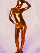 Halloween Unisex Golden Shiny Metallic Zentai Suit