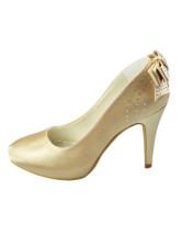 White Bow Round Toe Satin Bridal Shoes