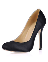 Black Pointed Toe Imitated Silk Woman's Dress Pumps