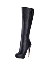 PU knielange Stiefelette2021  mit Stilett Heel und Reißverschluss in Schwarz