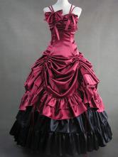 Women's Vintage Costume Victorian Red Satin Ruffle Retro Maxi Dress
