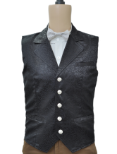 Anime Costumes AF-S2-244080 Vintage SteampunkWaistcoat Black Retro Costume Men's Jacquard Suit Vest