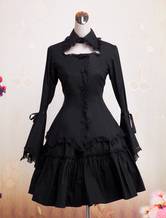 Gothic Lolita Dress OP Black Long Hime Sleeves Ruffles Lace Trim Cotton Lolita One Piece Dress